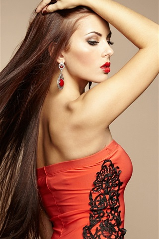Red fashion girl robe, cheveux longs iPhone 3GS Fonds d'écran - 320x480