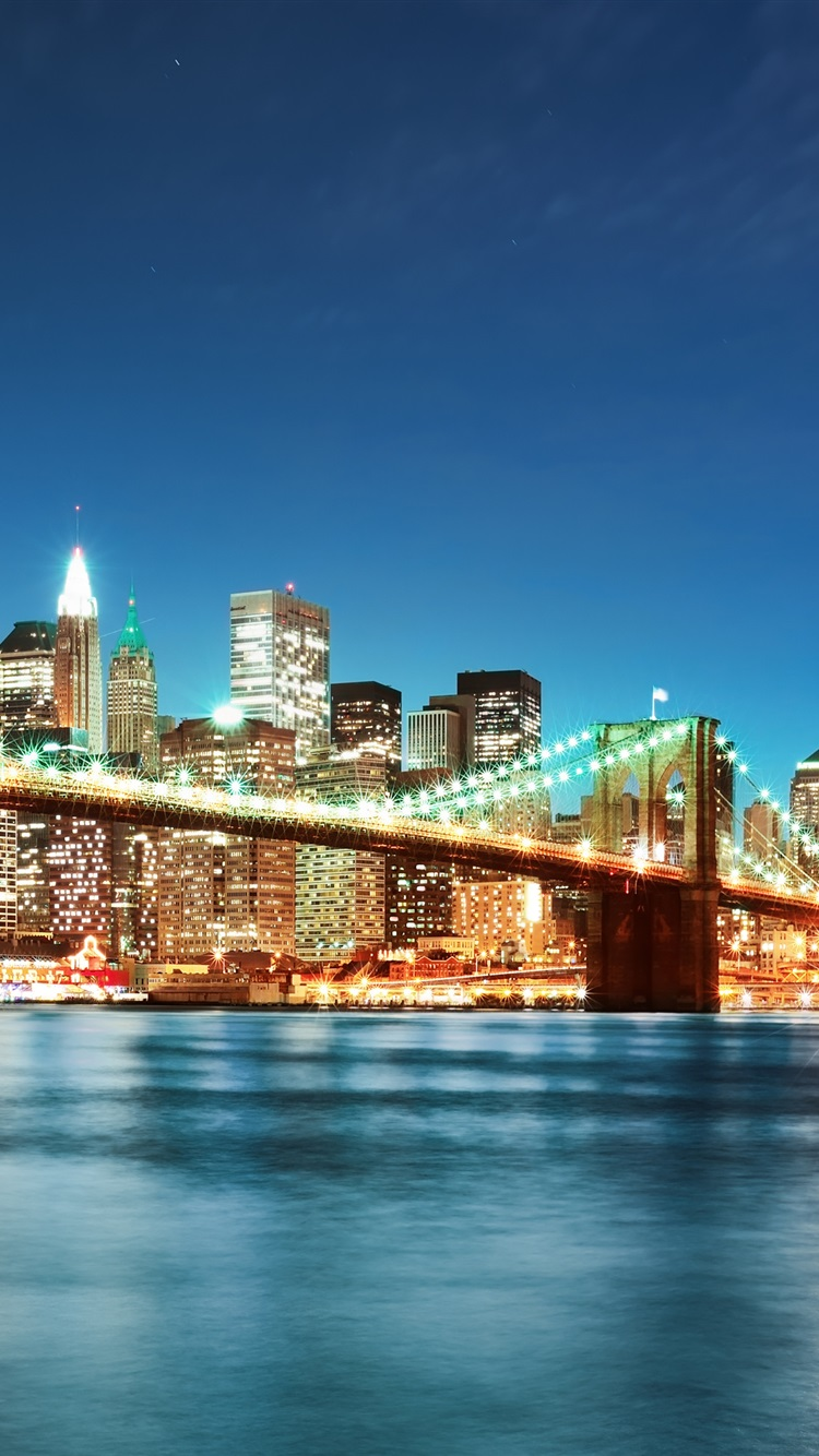Pont de brooklyn new york ville lumi res de la nuit for Foto de fond ecran