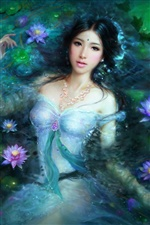 Fantasy girl asiatique en lotus piscine iPhone fonds d'écran