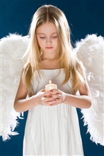 Fille, ailes blanches d'ange, bougie iPhone fonds d'écran
