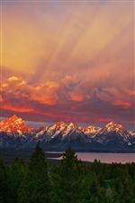 Parc national de Grand Teton, Wyoming, le lever du soleil, montagnes, ciel, lac iPhone fonds d'écran