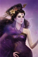 Purple fantasy fille orientale voile iPhone fonds d'écran