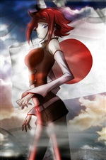Cheveux rouge, robe rouge anime girl iPhone fonds d'écran