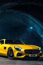 2 015 Mercedes-Benz AMG GTS voiture jaune iPhone fonds d'écran