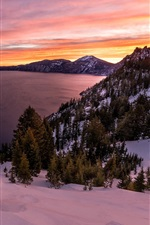 Crater Lake, Oregon, Etats-Unis, le lac, le lever du soleil, de la neige iPhone fonds d'écran