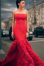 Moscou, belle fille de la mode, robe rouge iPhone fonds d'écran