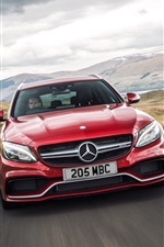 2015 Mercedes-Benz AMG C63 voiture rouge iPhone fonds d'écran